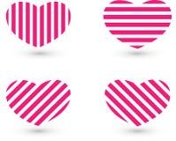 'Herzlinie Ikonensatz Rosa Linien nzen das Herz ergä, das vom weißen Hintergrund lokalisiert wird stockfotos