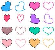 'Het pictogramreeks van het pastelkleurhart Grafisch ontwerp in het concept liefde leuk liefdeembleem Vectorliefdesymbool voor de royalty-vrije illustratie