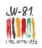 'ik voel 'me beter typografie, de sportieve grafiek van het T-stukoverhemd royalty-vrije illustratie