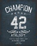 'kampioens 'typografie, de sportieve grafiek van het T-stukoverhemd royalty-vrije illustratie