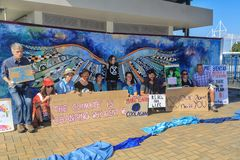 'Löschungs-Aufstands'Protestierender in Tauranga, Neuseeland lizenzfreies stockbild