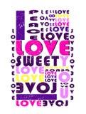 'liefde, vrede, zoet 'patroon, de druk van de jonge geitjest-shirt royalty-vrije illustratie