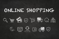 'On-line-Einkaufs'Text und -ikonen auf Kreidebretthintergrund lizenzfreie abbildung