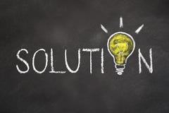 'Oplossings 'tekst met een idee gloeilamp op schoolbord royalty-vrije illustratie