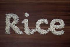 'Reises geschrieben mit Reis stockfotografie
