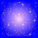 'ROSA FUNKELNDE BLUMEN-FORM, EINE GROSSE BLUME UND VIELE KLEINEN BLUMEN AUF BLAUEM HINTERGRUND Auch im corel abgehobenen Betrag ` vektor abbildung