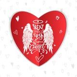 'Sie sind mein Schutzengel! 'Glücklicher Valentinstagbeschriftungsaufkleber Karikaturengelsflügel mit einem Halo und einer kallig stockfoto