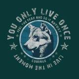 'u leeft slechts zodra typografie, de druk van het T-stukoverhemd stock illustratie
