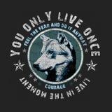 'u leeft slechts zodra typografie, de druk van het T-stukoverhemd, grafische wolf vector illustratie
