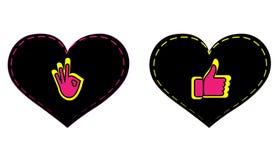 'Vektorikonensatz, -o.K. und -daumen herauf Grafikdesign im Konzept der Liebe Social Media liebt Symbol für Valentinstag auf eine lizenzfreies stockfoto