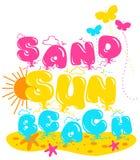 """""""άμμος, ήλιος, γραπτό σχέδιο παραλιών """", γραφική παράσταση για τα παιδιά ελεύθερη απεικόνιση δικαιώματος"""
