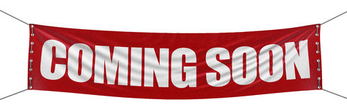 """Coming soon"" banner  (clipping path included). Large Coming soon banner with fabric surface texture. Image with clipping path Royalty Free Stock Images"