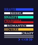"""""""courageux, rebelle, élégant, charisme, """"typographie romantique, sûre, folle, graphiques sportifs de tee-shirt illustration libre de droits"""