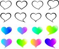 """""""Ensemble de bulle de la parole dans le contour de coeur avec un coeur de gradient Ensemble de bulle de la parole d'amour D'isole illustration stock"""