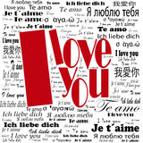 """Eu te amo"" cartaz multilingue Fotografia de Stock Royalty Free"