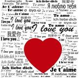 """Eu te amo"" cartaz multilingue Imagem de Stock"