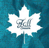 """Fall season"" text Autumn leaf with writings background EPS1. Autumn Fall season text maple leaf shape with hand written background. EPS10 file with stock illustration"