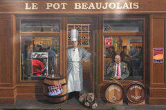 """Fresque des Lyonnais""被绘的墙壁 免版税库存图片"