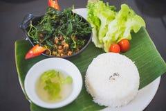 """Kra Pow Moo"" Stir fried pork with basil. Thai Recipe stock images"