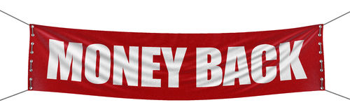 """Money Back"" banner  (clipping path included). Large Money Back banner with fabric surface texture. Image with clipping path Stock Image"