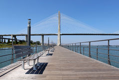 """Parque das Nações"" foothpath  and ""Vasco da Gama"" bridge Royalty Free Stock Photography"