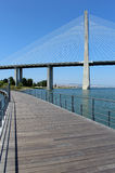 """Parque das Nações"" foothpath  and ""Vasco da Gama"" bridge Royalty Free Stock Photography"
