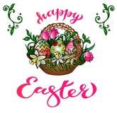 """""""Pasqua felice """": Cartolina d'auguri del disegno della mano con la congratulazione scritta a mano royalty illustrazione gratis"""