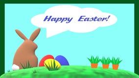 """""""Pasqua felice! """"carta con coniglio, le uova di Pasqua e le carote marroni illustrazione di stock"""