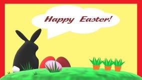 """""""Pasqua felice! """"carta con coniglio, le uova di Pasqua e le carote neri royalty illustrazione gratis"""
