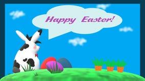 """""""Pasqua felice! """"carta con coniglio, le uova di Pasqua e le carote whitespotted illustrazione di stock"""