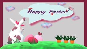 """""""Pasqua felice Girly! """"carta con coniglio, le uova di Pasqua e le carote whitespotted royalty illustrazione gratis"""