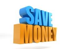"""""""Rappresentazione di 3D dei soldi di risparmi """"del testo isolata su fondo bianco, elemento di promozione delle vendite, offerta,  illustrazione di stock"""
