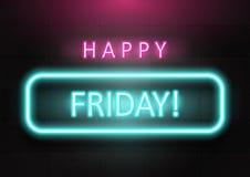 """""""Vendredi heureux """"exprimant la couleur au néon sur le mur de briques en béton foncé illustration libre de droits"""