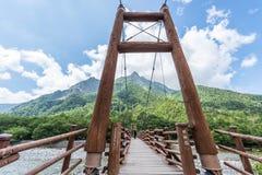 """""""Мост моста kamikochi """"перевода над потоком в kamikochi, Японии стоковые фотографии rf"""