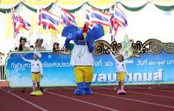 """""""Harmonisch"""" (blauer Elefant) das Symbol Wettbewerb der 40. Thailand-Hochschulspiele lizenzfreie stockfotografie"""