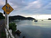 """Pinguinkreuzung"" und Boote im Hafen, Mangonui, Neuseeland Stockfotos"
