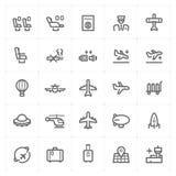 """""""Vliegtuig pictogram vastgestelde †en vervoer vectorillustratie royalty-vrije illustratie"""