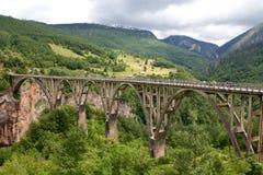‡ För eviÄ för ` för Ä-urÄ en Tara Bridge i nationalparken Durmitor i Montenegro Arkivbild