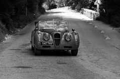 ‰ 1955 ГОЛОВЫ COUPÃ ПАДЕНИЯ SE ЯГУАРА XK 140 на старом гоночном автомобиле в ралли Mille Miglia 2017 Стоковое фото RF