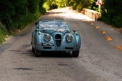 ‰ 1955 ГОЛОВЫ COUPÃ ПАДЕНИЯ SE ЯГУАРА XK 140 на старом гоночном автомобиле в ралли Mille Miglia 2017 Стоковая Фотография RF