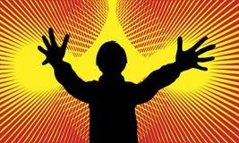 ‹Ðµ RGsilhouette, muchacho con los brazos abiertos, diversión del ½ Ñ del ² Ð del ¾ Ð del ½ Ð del  Ð de ÐžÑ durante el disco, ad Stock de ilustración