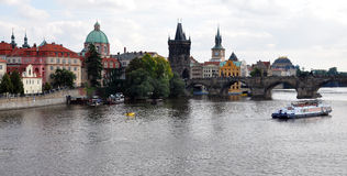 ‹D'†de ‹d'†de ville et rivière Vltava à Prague, République Tchèque, l'Europe Photographie stock libre de droits