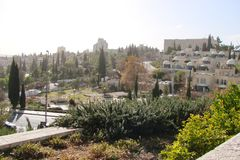 ‹Del †del ‹del †de la ciudad de Jerusalén Israel Panorama de la arquitectura religiosa de la vieja parte de la ciudad foto de archivo