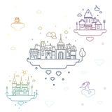 ‹Ity d'†de ‹d'†de ¡ de Ð dans les nuages illustration stock