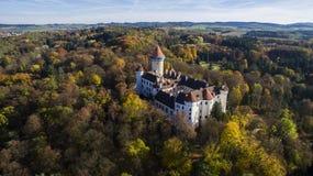 › Del tÄ del ¡ di KonopiÅ - vista aerea del fuco del castello ceco fotografia stock libera da diritti