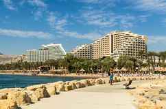 € «7-ое ноября 2017 EILAT, ИЗРАИЛЯ: Панорамный взгляд на центральном пляже Eilat, Израиля стоковое изображение rf