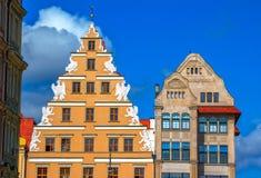 € рыночной площади городка Wroclaw детали старого «архитектурноакустические Стоковые Фотографии RF