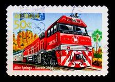 """€ """"Darwin de Alice Springs, 150th aniversário do serie australiano das estradas de ferro, cerca de 2004 Imagem de Stock Royalty Free"""