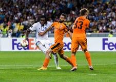 """€ """"Skenderbeu de Kyiv do dínamo do fósforo de futebol da liga do Europa do UEFA, SE Imagens de Stock Royalty Free"""