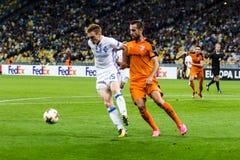 """€ """"Skenderbeu, SE de Kyiv del dínamo del partido de fútbol de la liga del Europa de la UEFA Imagen de archivo libre de regalías"""